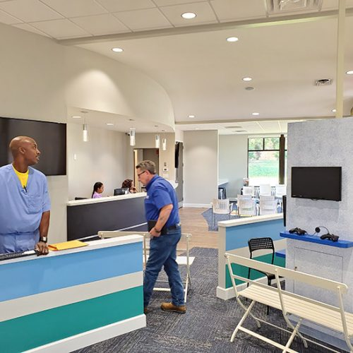 Dr. T Reception Area Constructed by Merit Construction